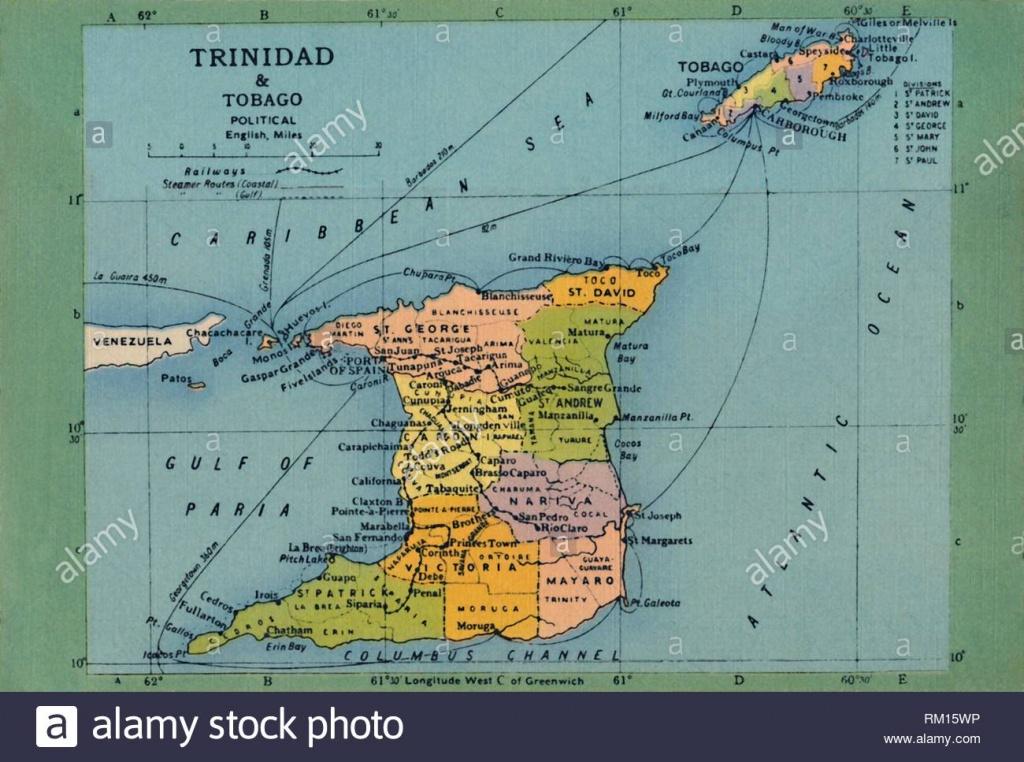 Tobago Print Map Stock Photos & Tobago Print Map Stock Images - Alamy - Printable Map Of Trinidad And Tobago