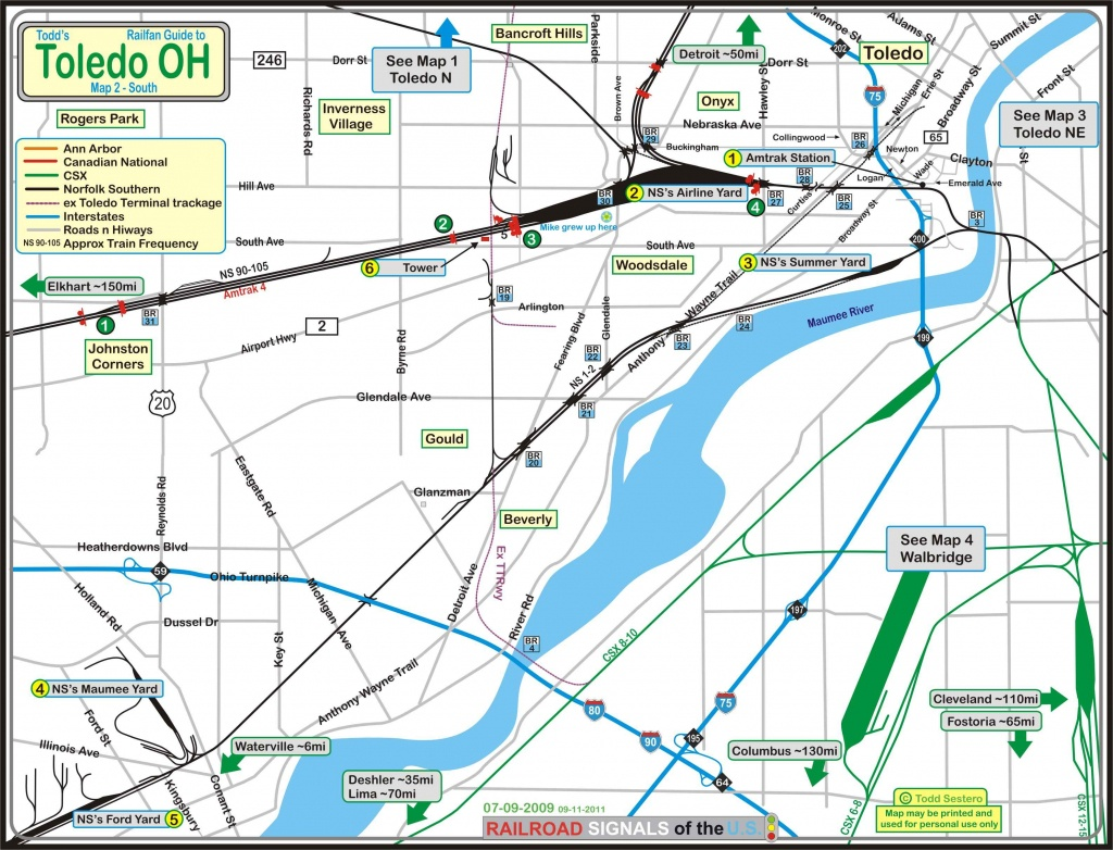 Toledo Oh Railfan Guide - Toledo South - Printable Map Of Toledo Ohio
