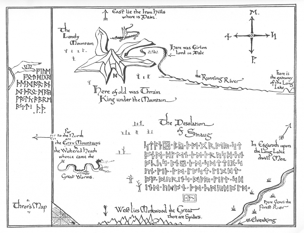 Tolkien Map - Thror's Map | Fantasy Maps | The Hobbit Map, Middle - Printable Hobbit Map