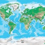 Topographic World Wall Map   Miller Projection   Topographic World Map Printable