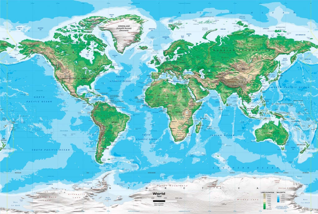 Topographic World Wall Map - Miller Projection - Topographic World Map Printable