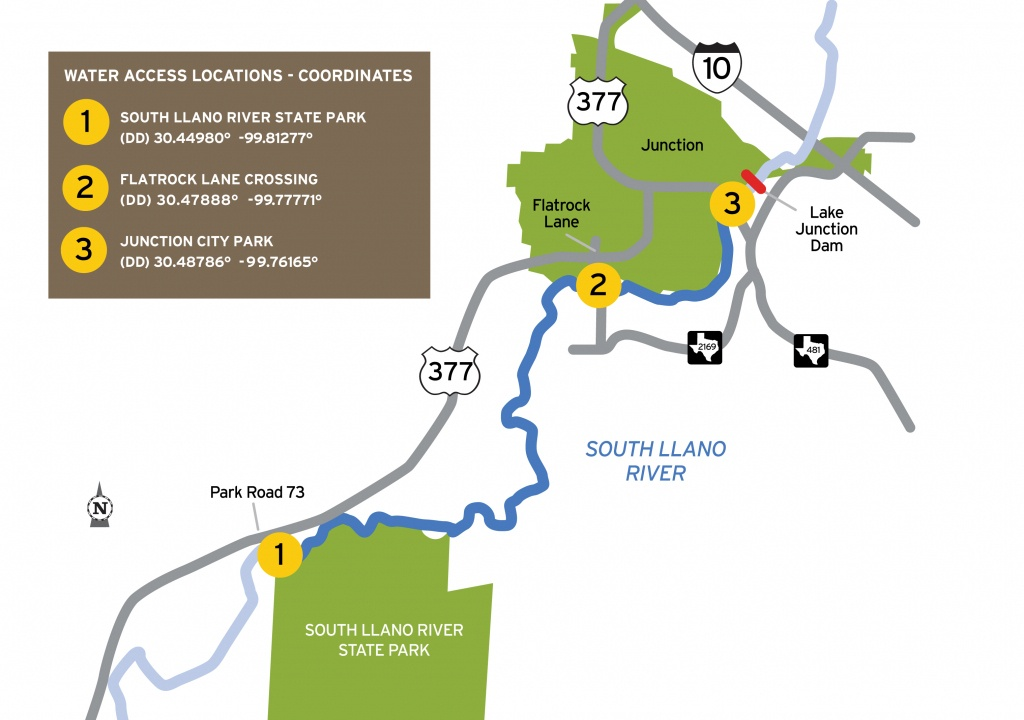 Tpwd: South Llano Paddling Trail     Texas Paddling Trails - Junction Texas Map