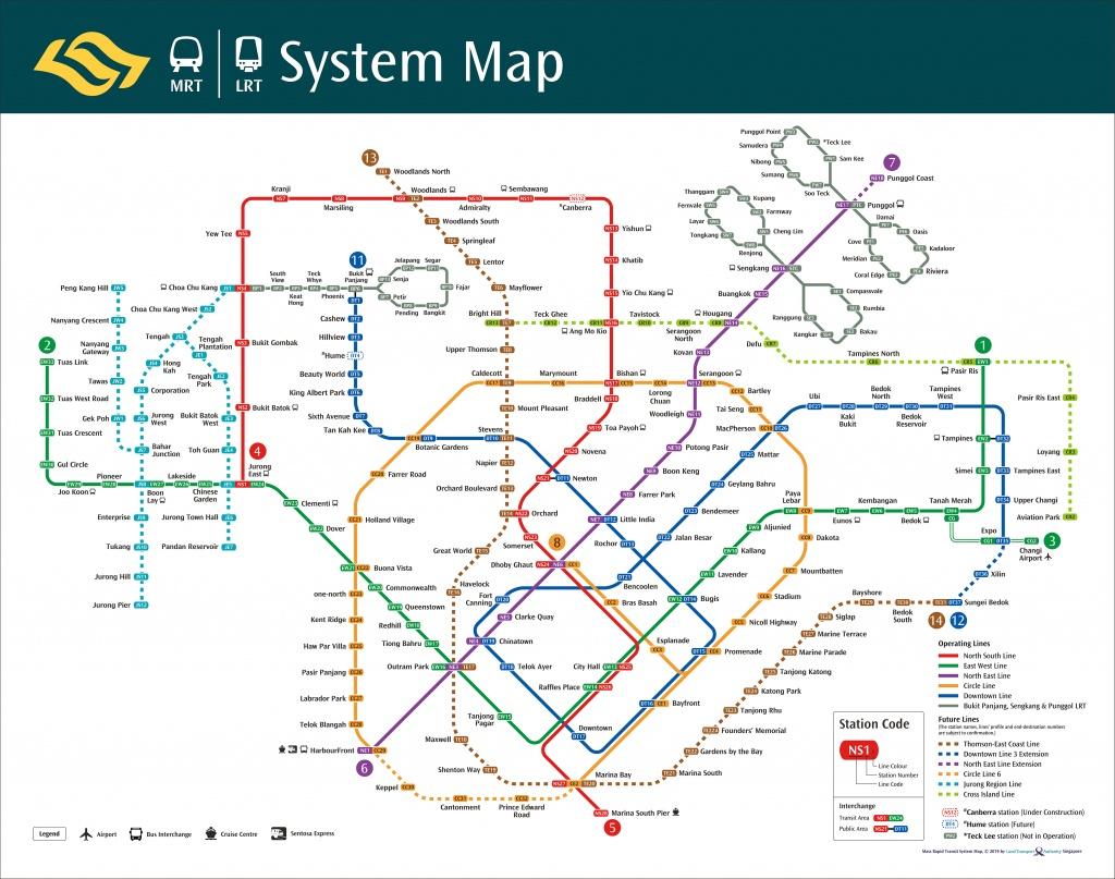 Train System Map | Mrt & Lrt Trains | Public Transport | Land - Singapore Mrt Map Printable