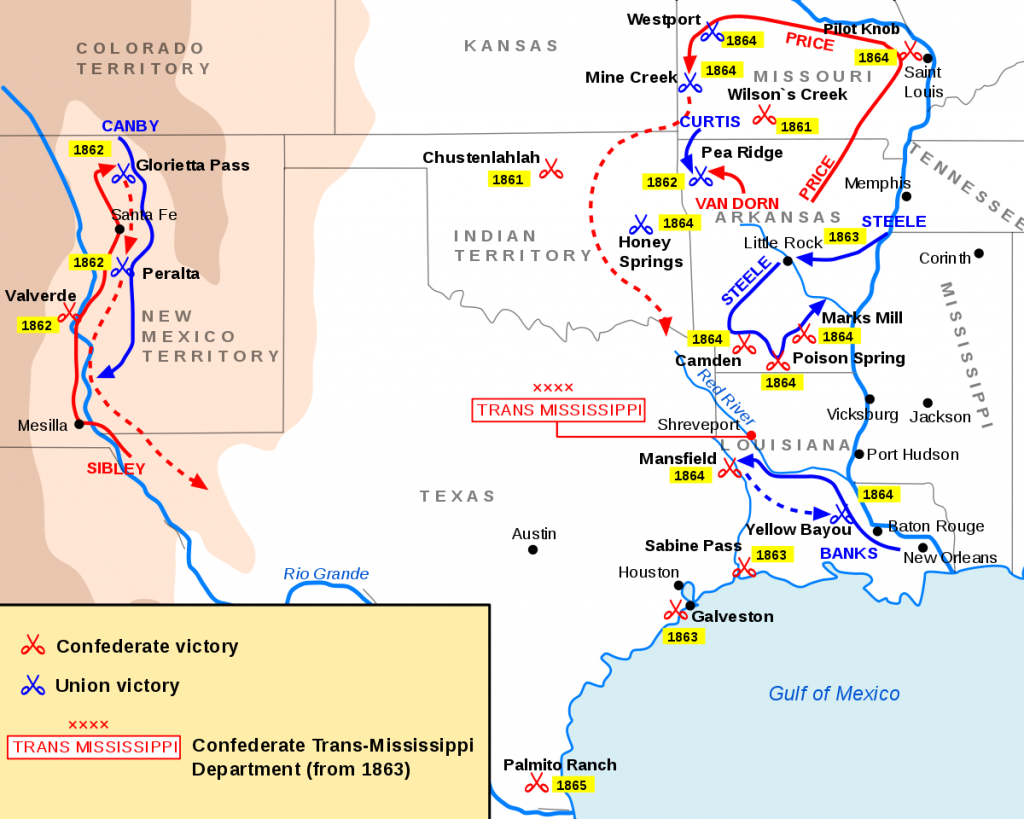 Trans-Mississippi Theater Of The American Civil War - Wikipedia - Civil War In Texas Map