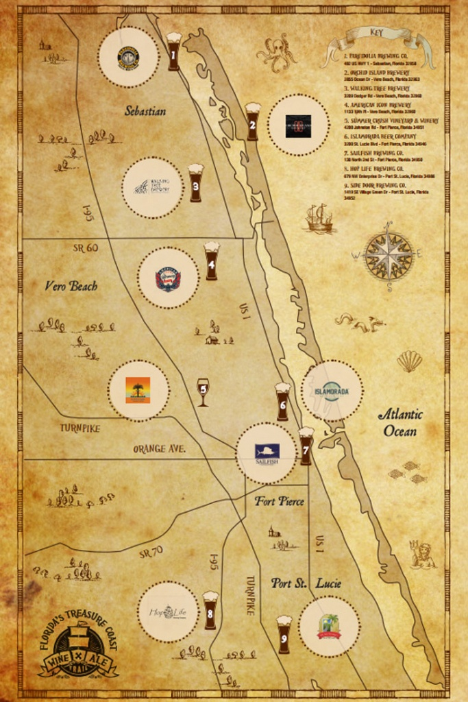 Treasure Coast Wine & Ale Trail | Visit Vero Beach, Fellsmere, Sebastian - Florida Winery Map
