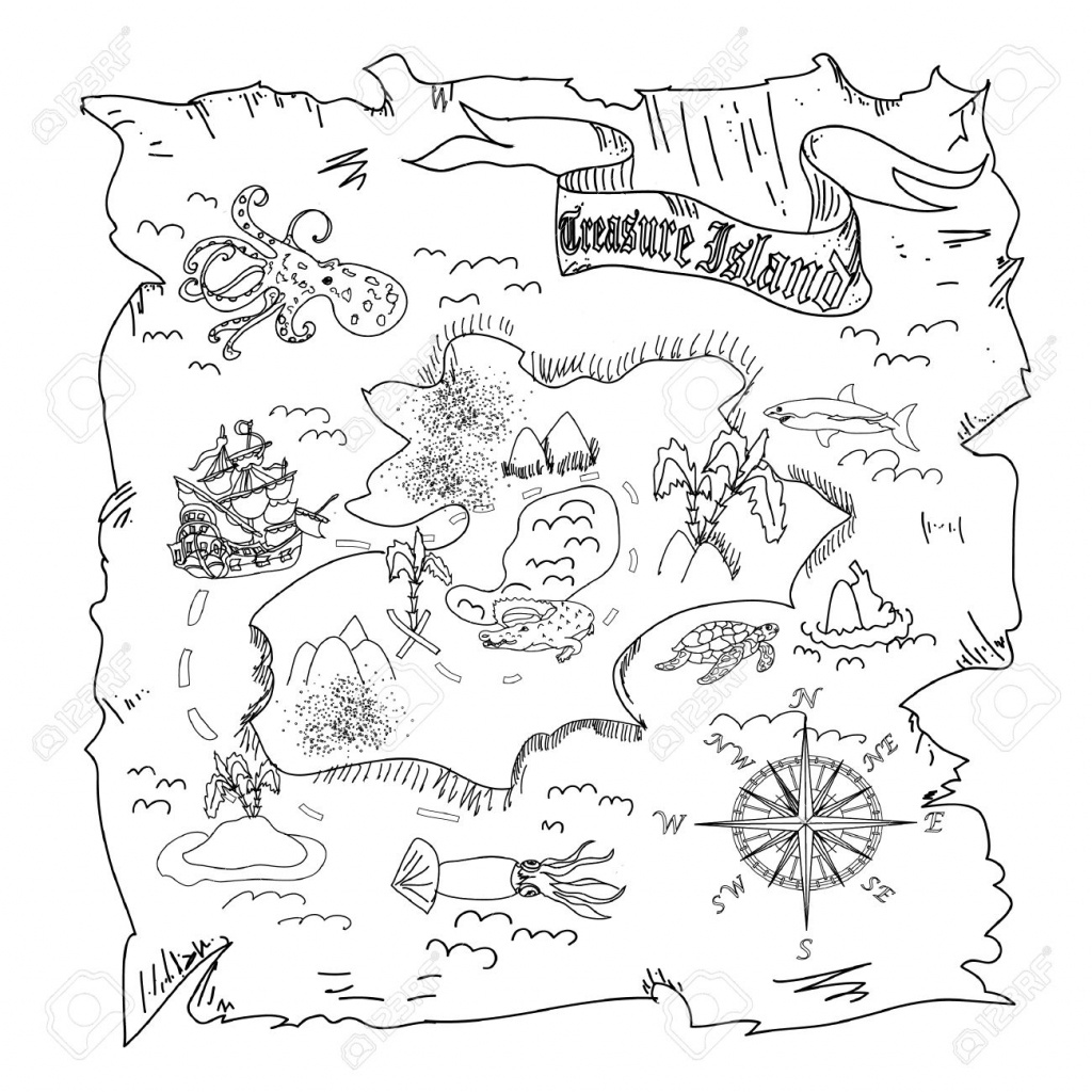 Treasure Island Map Kids Coloring Page Stock Photo, Picture And - Children's Treasure Map Printable