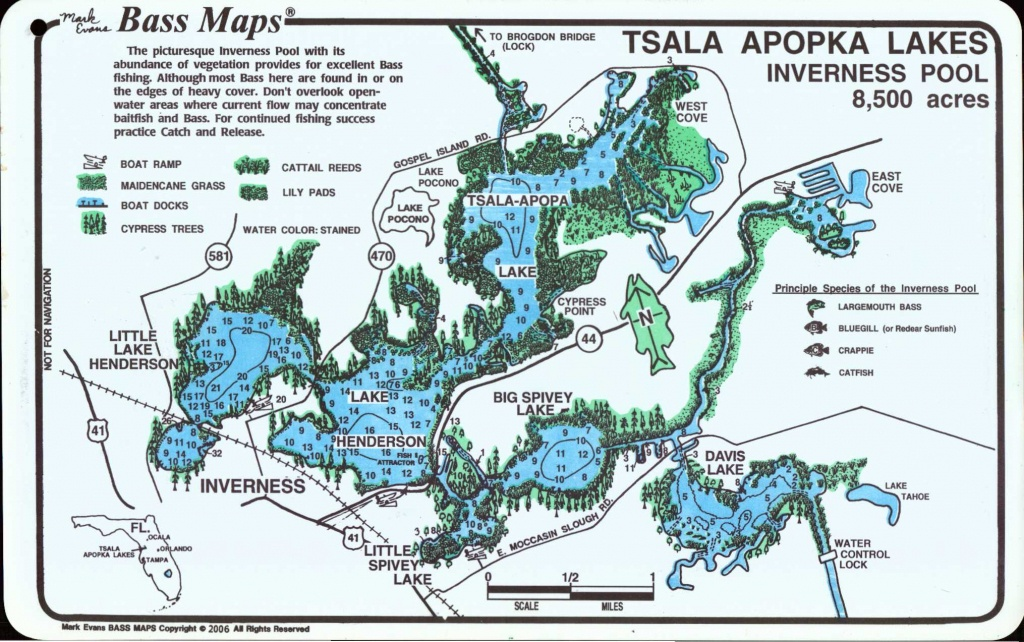 Tsala Apopka Lakes (Inverness & Hernando Pools) - Mark Evans Maps - Florida Fishing Lakes Map