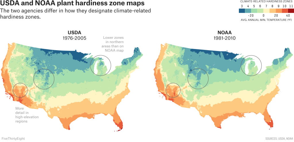 Two Government Agencies. Two Different Climate Maps. | Fivethirtyeight - Usda Zone Map Texas
