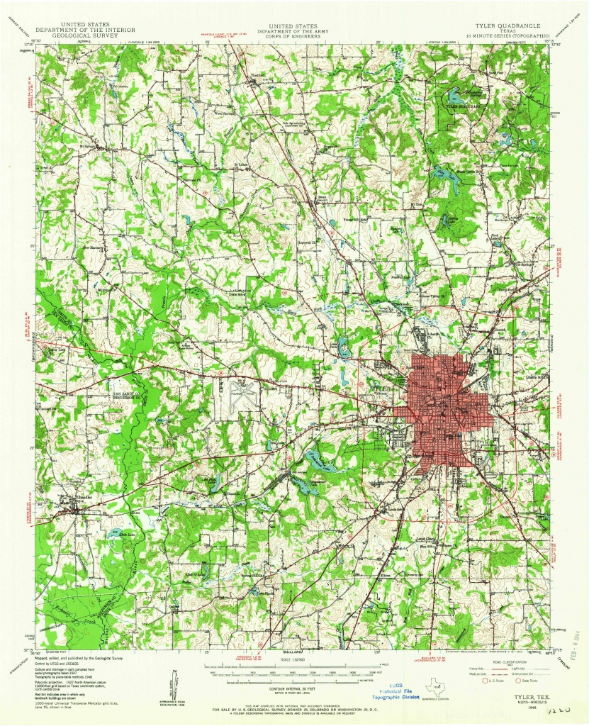 Tyler, Tx—1948. Map From The Usgs Historical Topographic Map - Google Maps Tyler Texas
