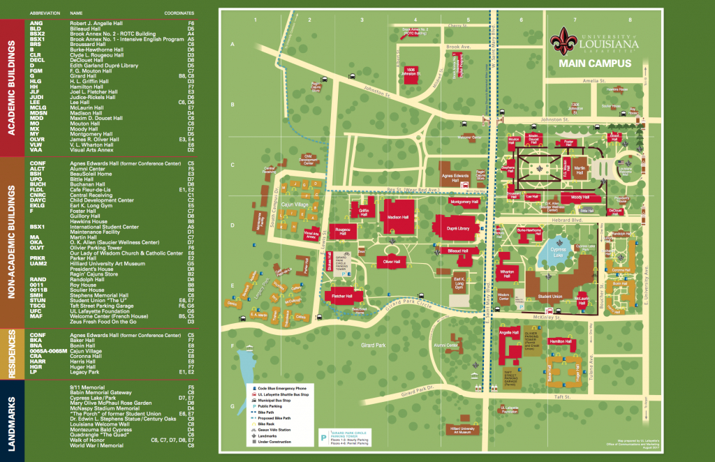Ull Campus Map | States Maps - Printable Map Of Lafayette La