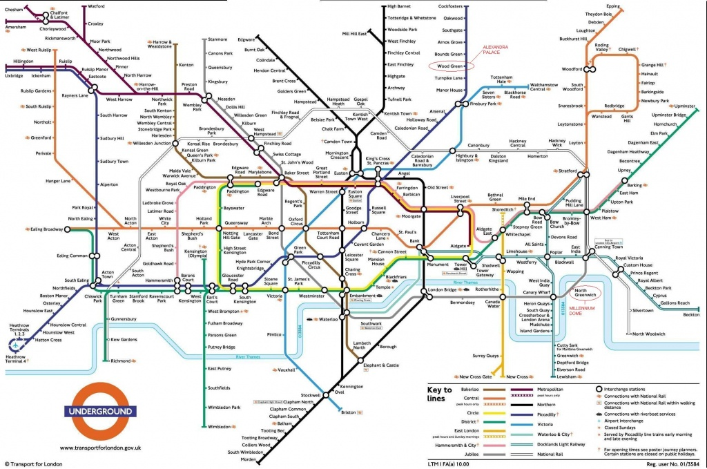 Underground: London Metro Map, England - Printable Map Of The London Underground