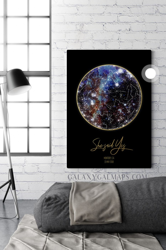 Unique Sky Map For Your Date - Texas Map State Of Texas Wall Art - Texas Night Sky Map