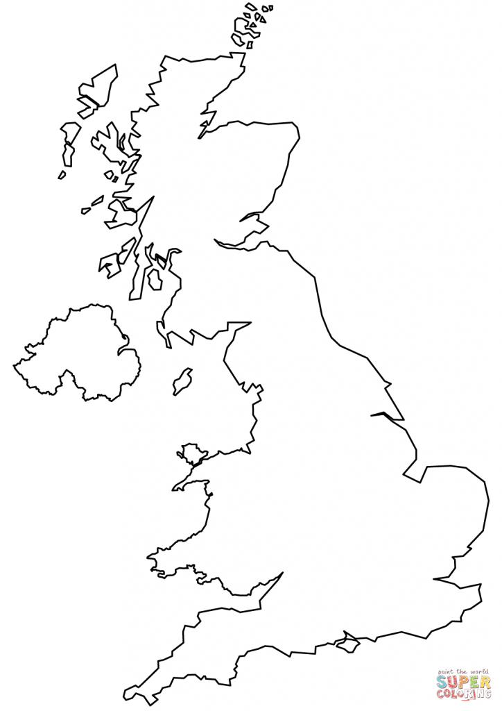 United Kingdom Blank Outline Map Coloring Page | Free Printable - Outline Map Of England Printable
