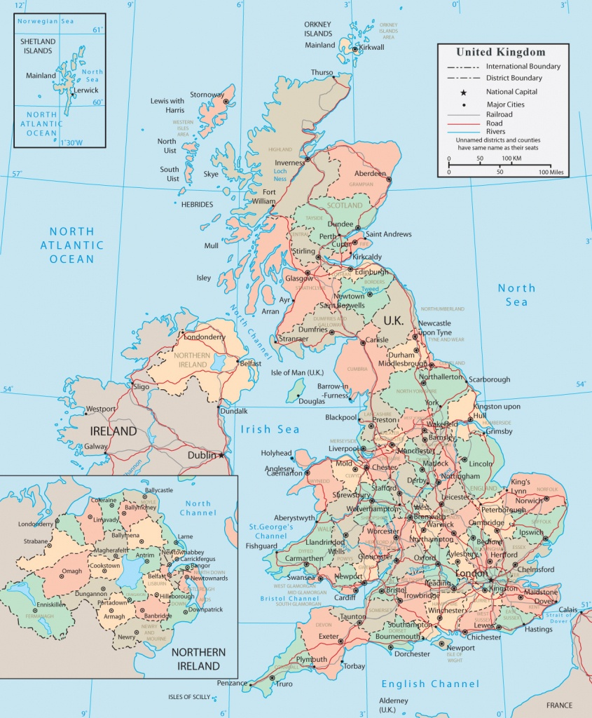 United Kingdom Map - England, Wales, Scotland, Northern Ireland - Printable Map Of England And Scotland