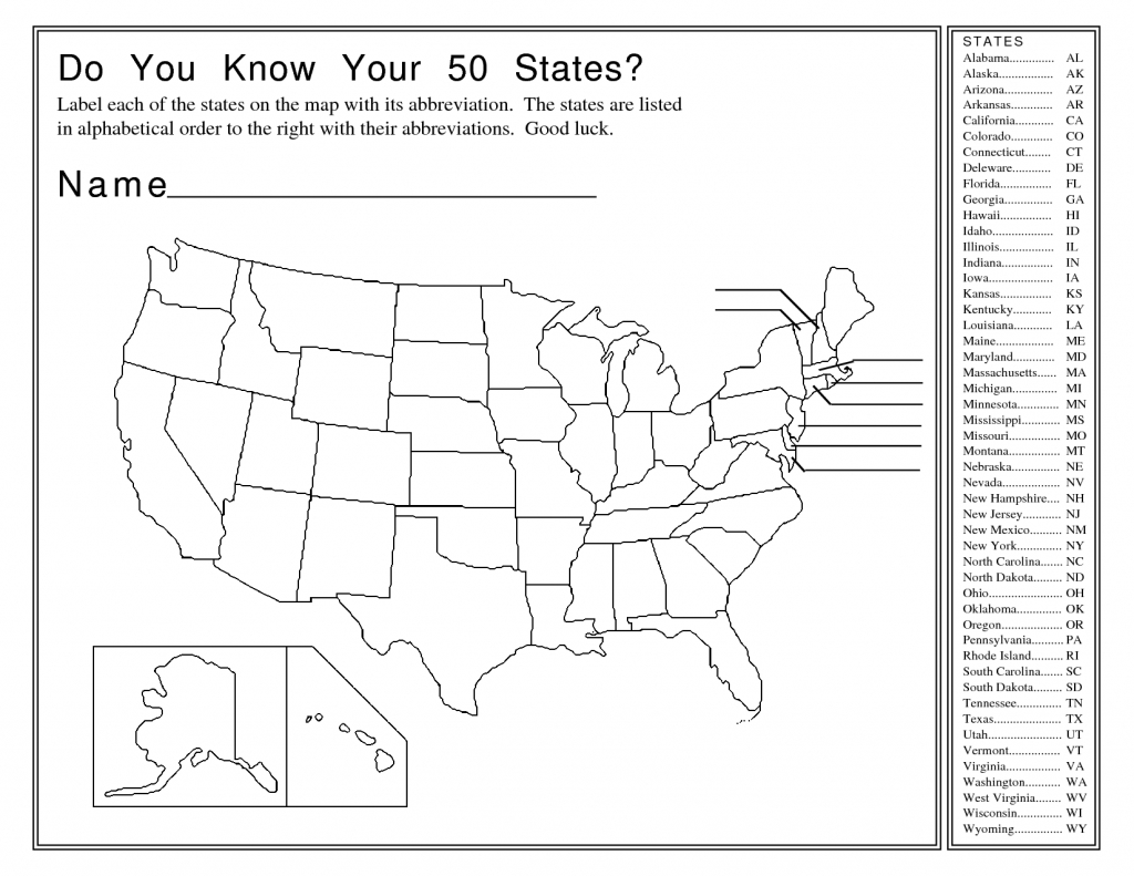 United States Map Activity Worksheet | Social Studies | Map Quiz, Us - 50 States And Capitals Map Quiz Printable