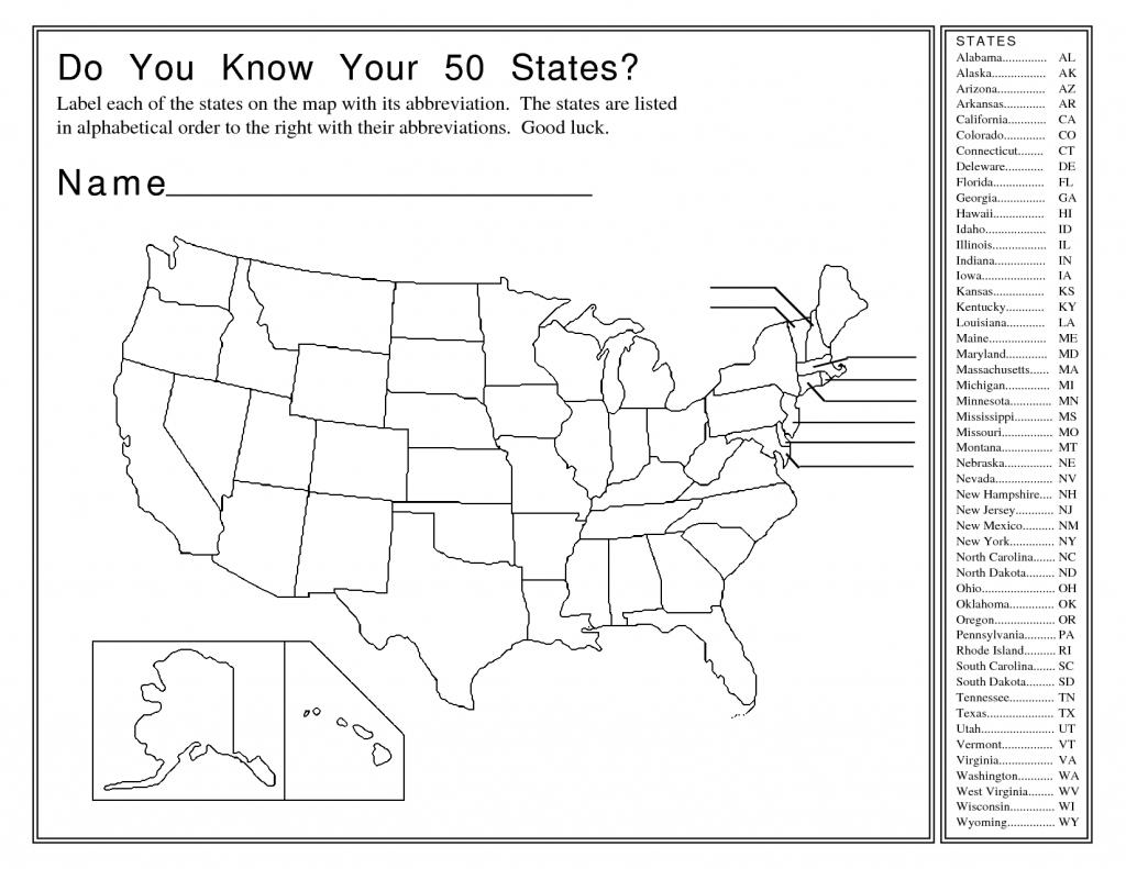 United States Map Activity Worksheet | Social Studies | Map Quiz - Us States Map Test Printable