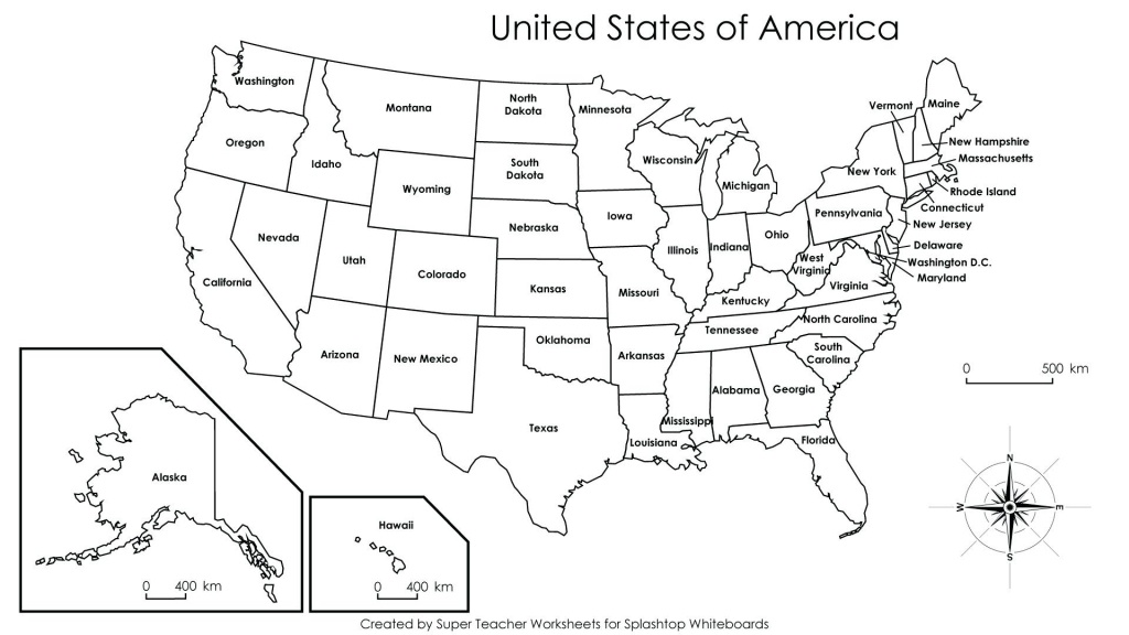 United States Map Printables United States Map Printable With - Blank Us Map With Capitals Printable