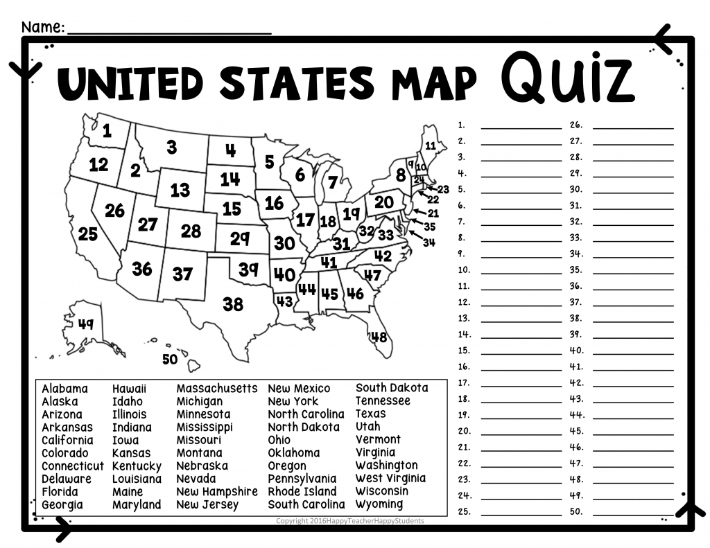 United States Map Quiz & Worksheet: Usa Map Test With Practice - World Map Test Printable