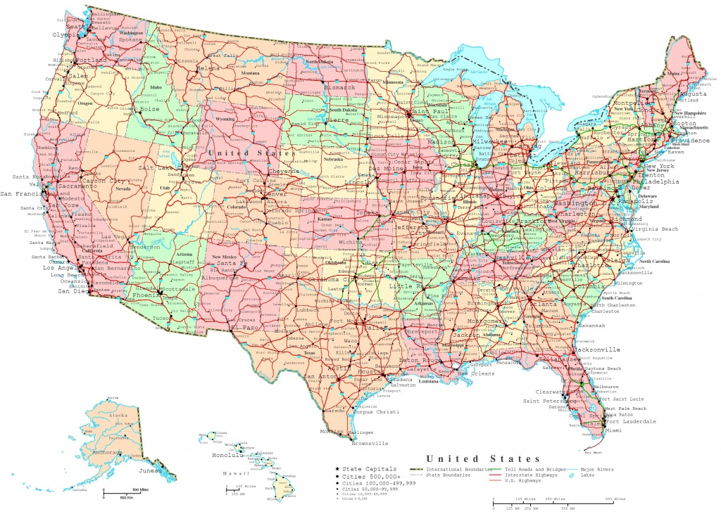 United States Printable Map - Printable Usa Map With States And Cities