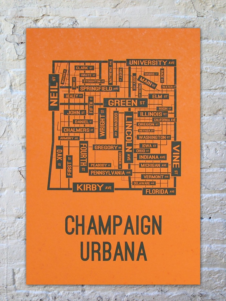 University Of Illinois Champaign-Urbana Fighting Illini Poster Print - Printable Map Of Champaign Il