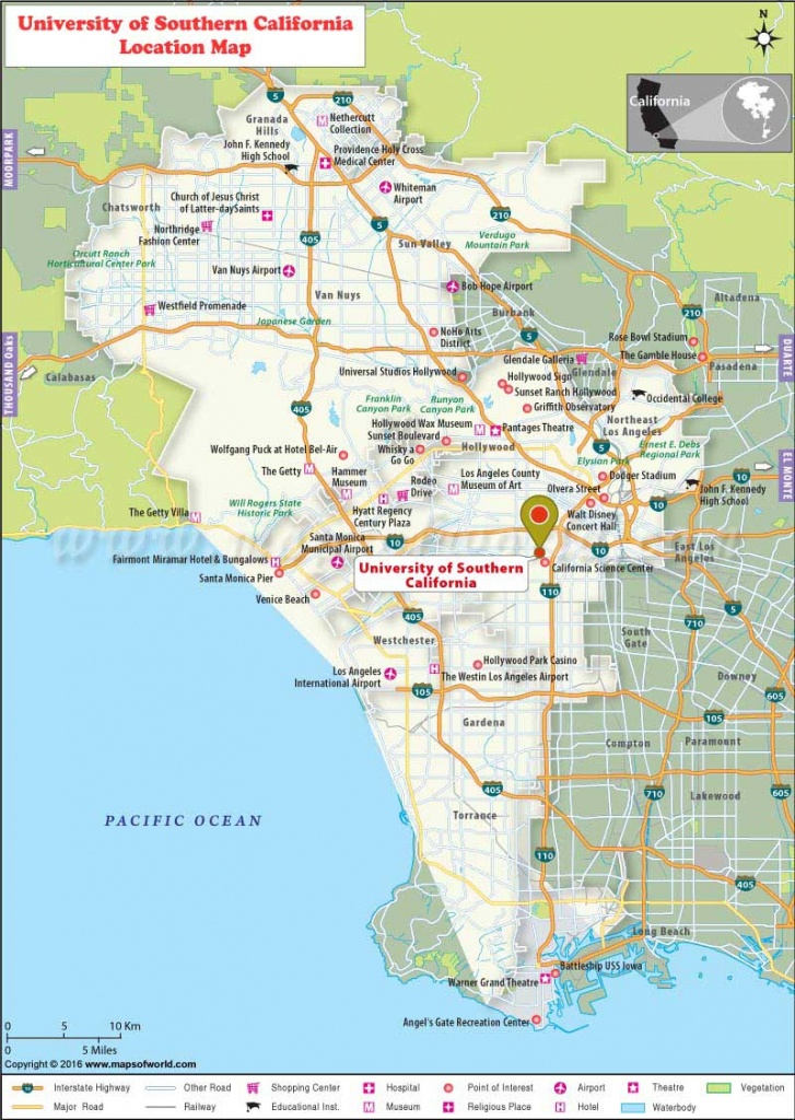 University Of Southern California (Usc), Los Angeles: Where Is - Duarte California Map