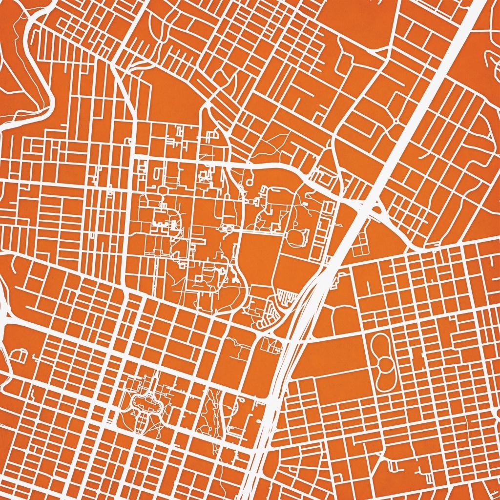 University Of Texas At Austin Campus Map Art - City Prints - Map Of Texas Art