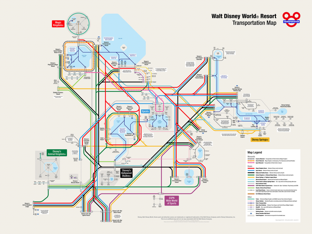 Unofficial Walt Disney World Resort® Transportation Map - Wdw Maps Printable