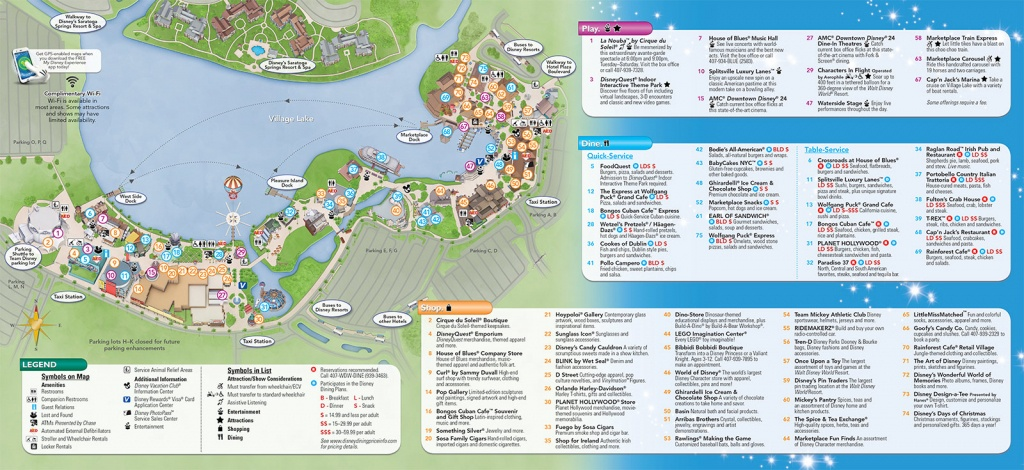 Updated Downtown Disney Guide Map Featuring Pleasure Island - Map Of Disney Springs Florida