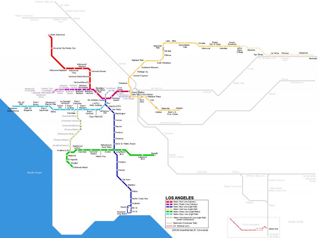 Urbanrail > America > Usa > California > Los Angeles - Metro - California Metro Rail Map