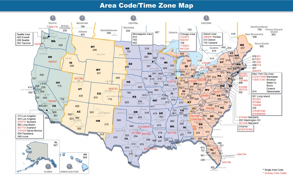 Us Area Code Map With Time Zones Usa Time Zone Map With States - Printable Us Timezone Map