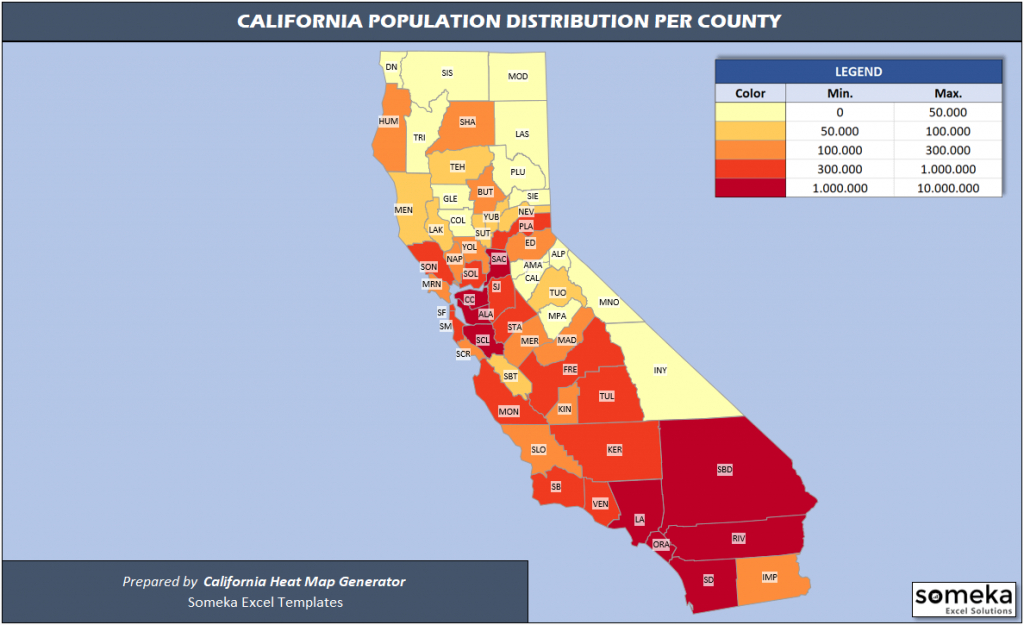 Us Counties Heat Map Generators - Automatic Coloring - Editable Shapes - California Heat Map