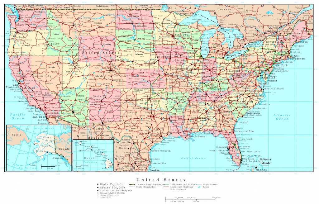 Us Map Of States Printable Large Detailed Political And Road Map Of - Printable Road Maps By State
