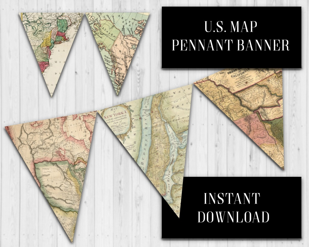 Us Map Pennant Banner, Vintage Us Map Banner, Classroom Banner - Printable Map Banner