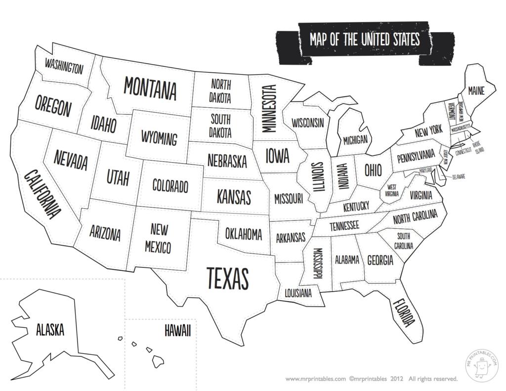 Us Map The South Printable Usa Map Print New Printable Blank Us - Blank Us State Map Printable