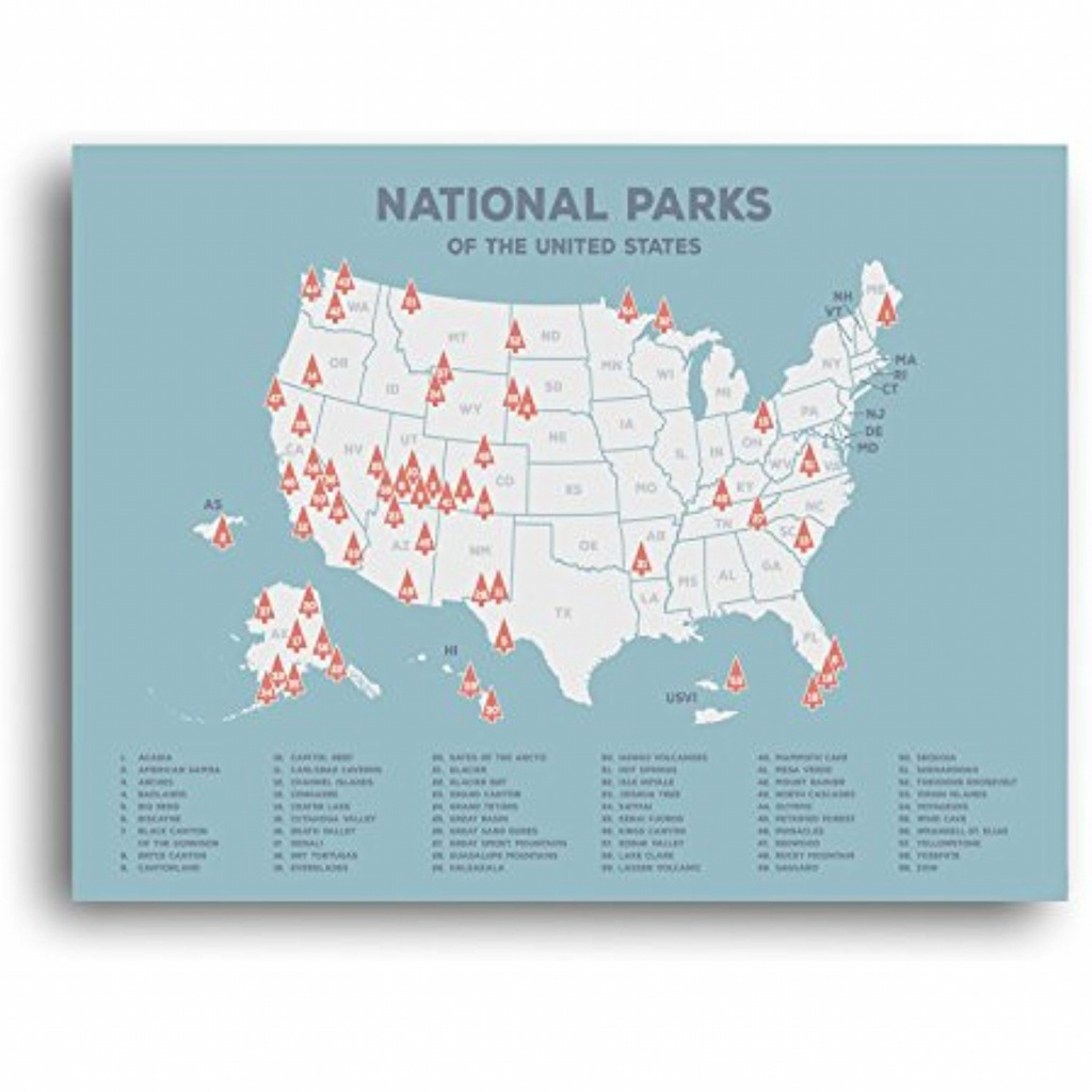 Us National Parks Map, Black Usa Map, Poster, Map Of The United - Printable Map Of Us National Parks