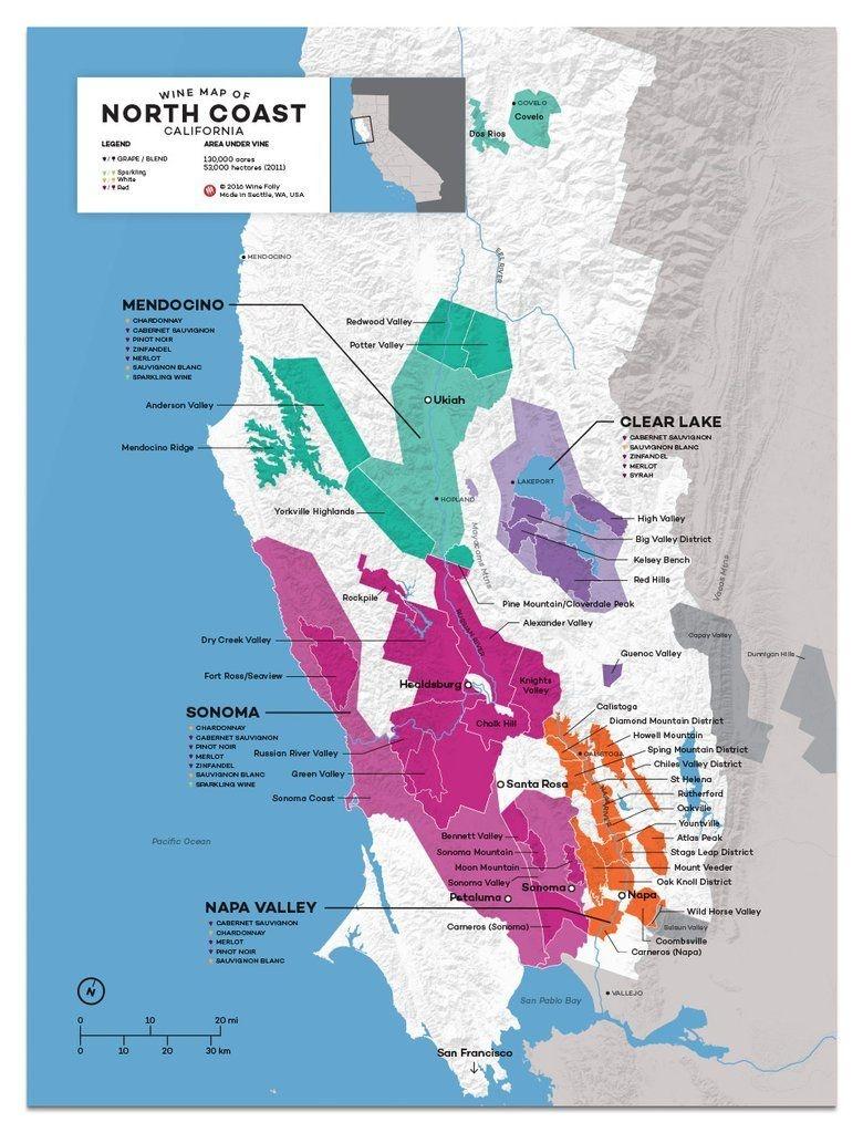 Usa: California, North Coast Wine Map In 2019 | Drinks | Wine Folly - California Wine Map Poster