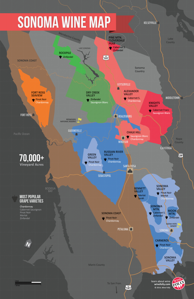 Usa: California, North Coast Wine Map In 2019 | Wine Guides - Sonoma Wine Country Map California