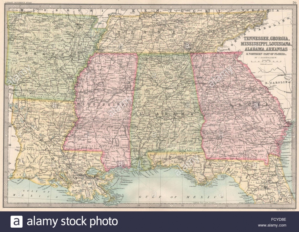 Usa Deep South:tn Georgia Mississippi Louisiana Al Ar Florida Stock - Mississippi Florida Map