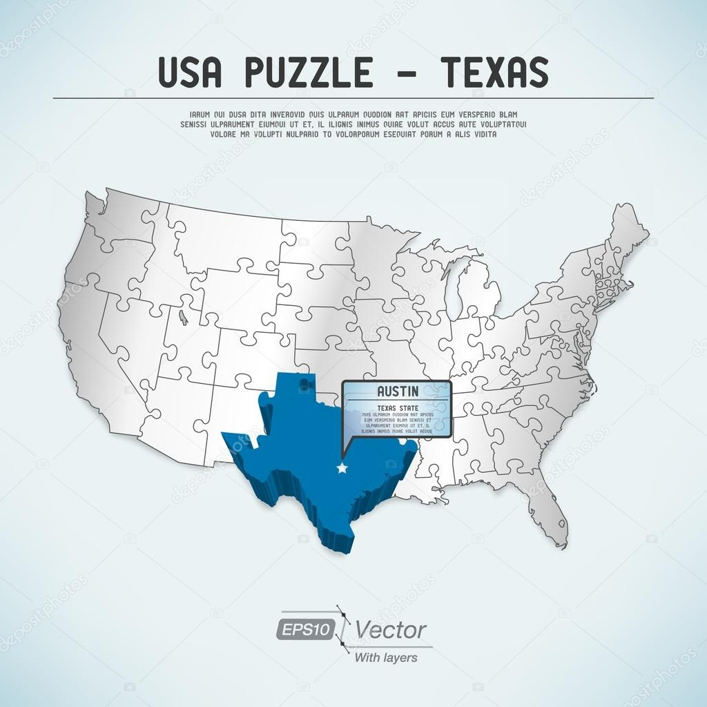 Usa Map Puzzle - One State-One Puzzle Piece - Texas, Austin — Stock - Texas Map Puzzle