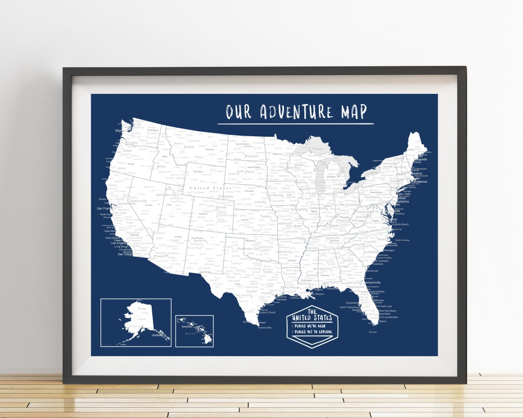 Usa Push Pin Map Print Only United States Travel Map | Etsy - United States Travel Map Printable