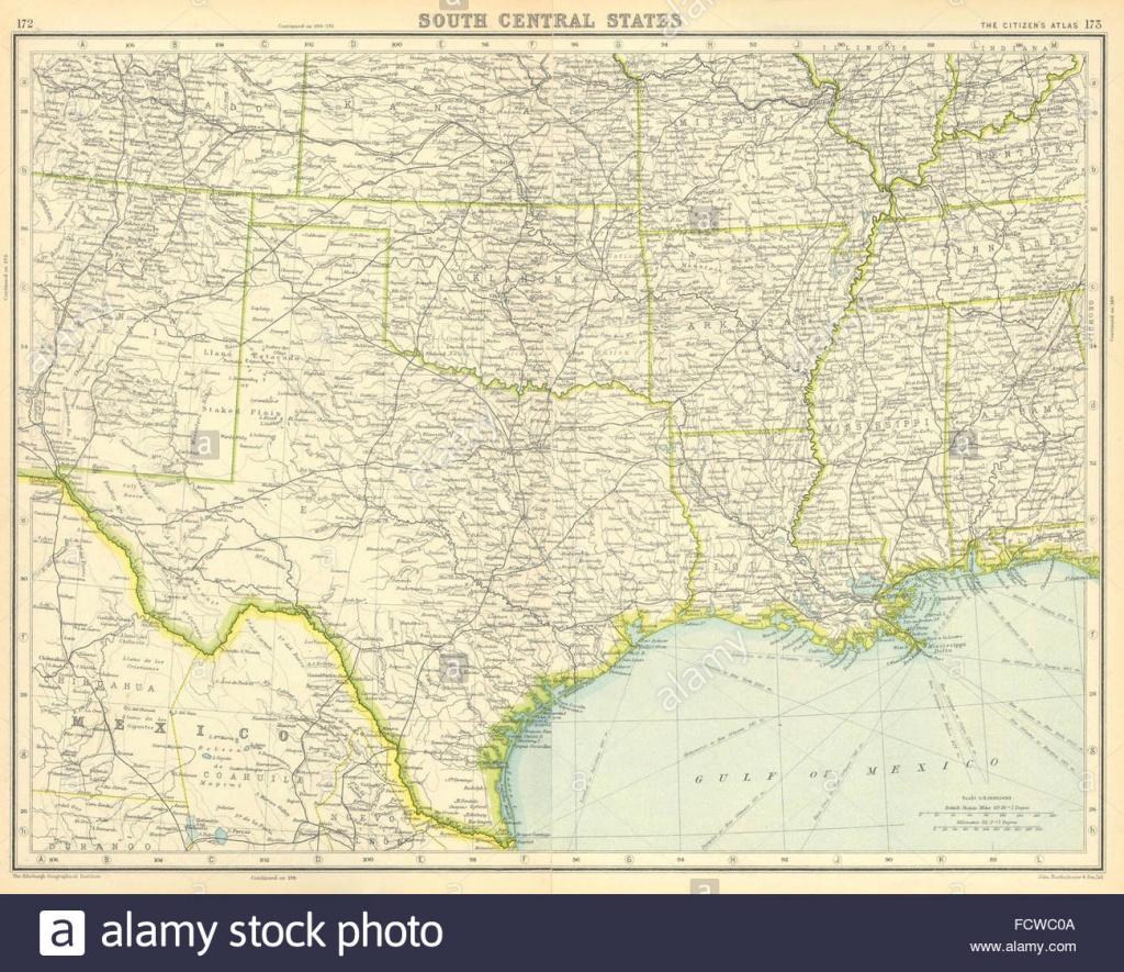 Usa South: Texas Louisiana Oklahoma Arkansas Mississippi Stock Photo - Texas Arkansas Map