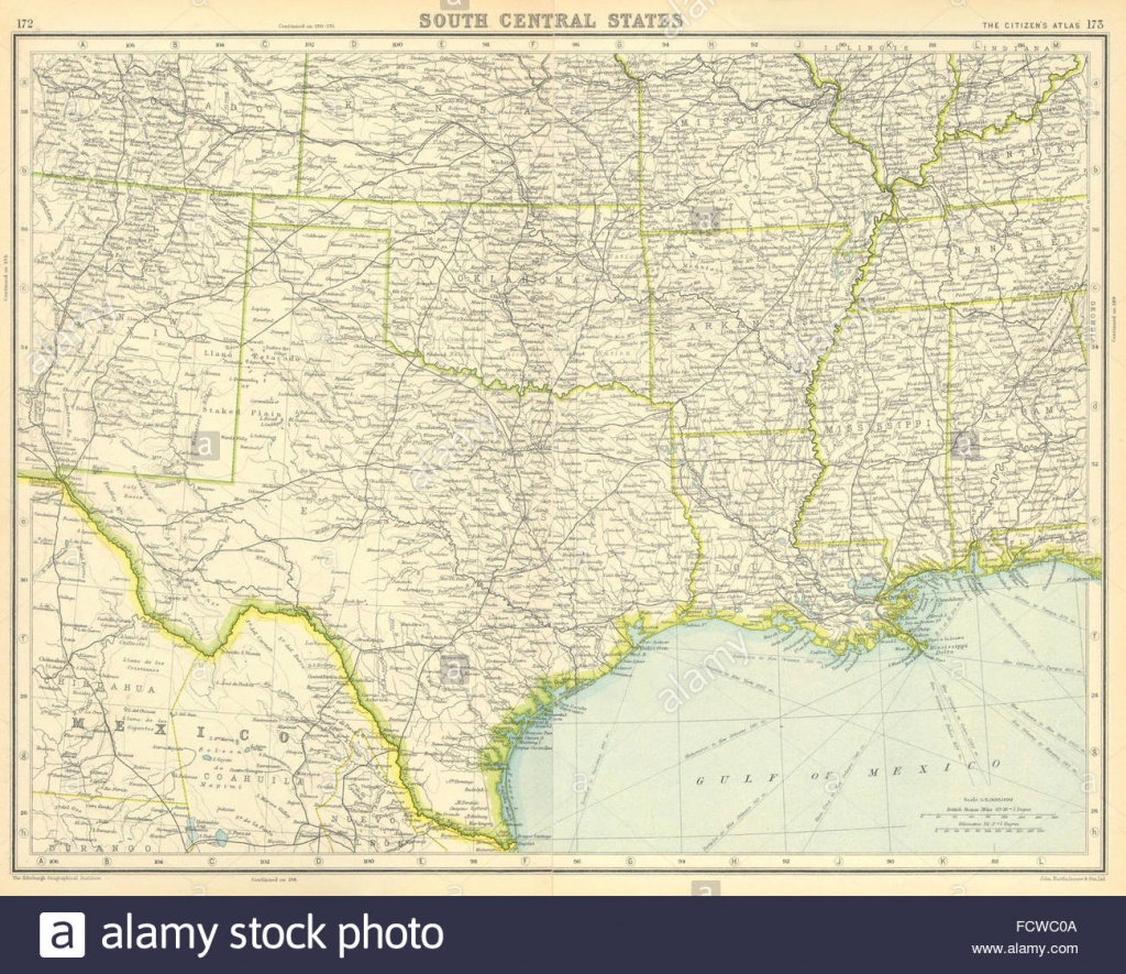 Usa South: Texas Louisiana Oklahoma Arkansas Mississippi Stock Photo - Texas Louisiana Border Map