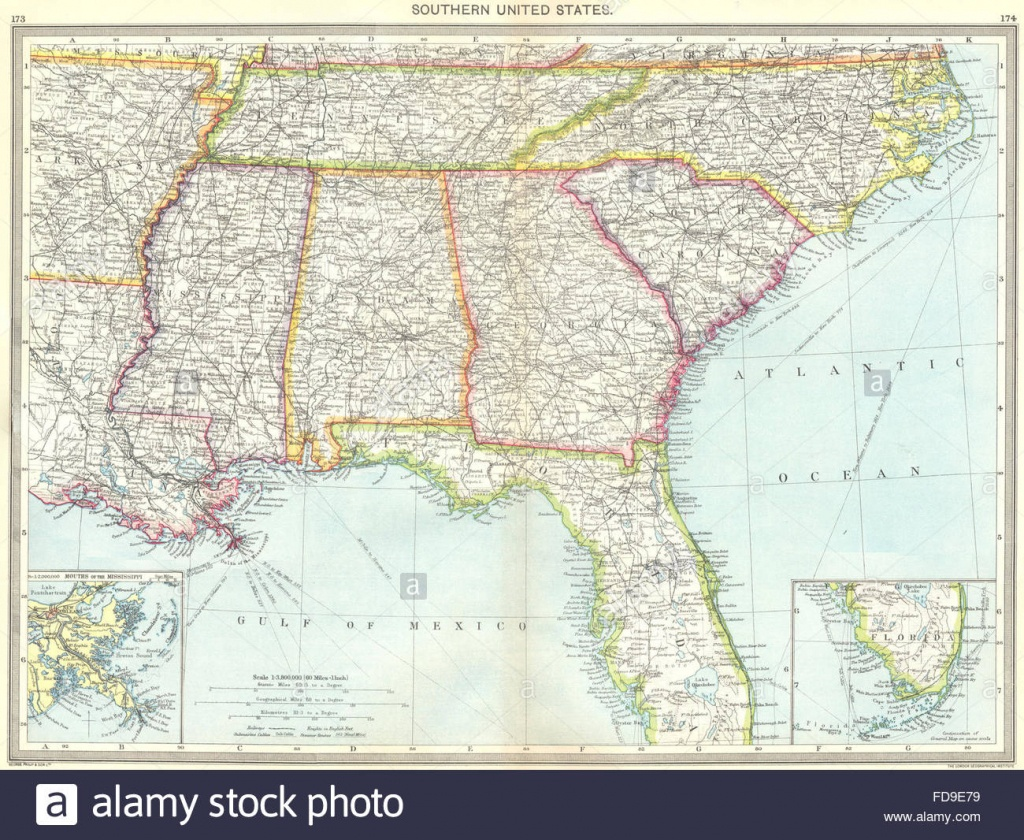 Usa: Southern Us; Maps Of Mouths Mississippi; Florida, 1907 Stock - Mississippi Florida Map