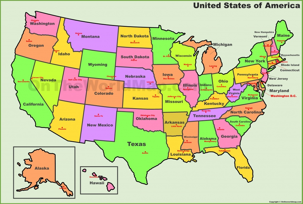 Usa States And Capitals Map - United States Map States And Capitals Printable Map