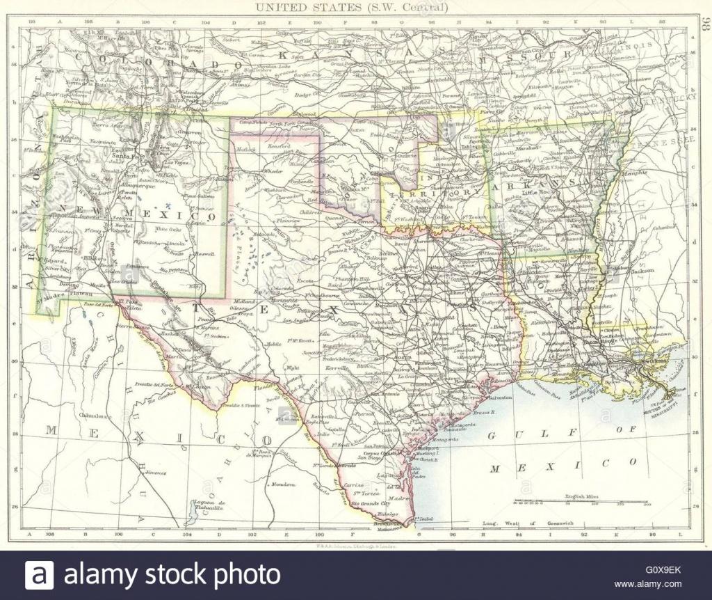 Usa: Sw Central: New Mexico Texas Oklahoma Arkansas Louisiana , 1897 - Texas Arkansas Map