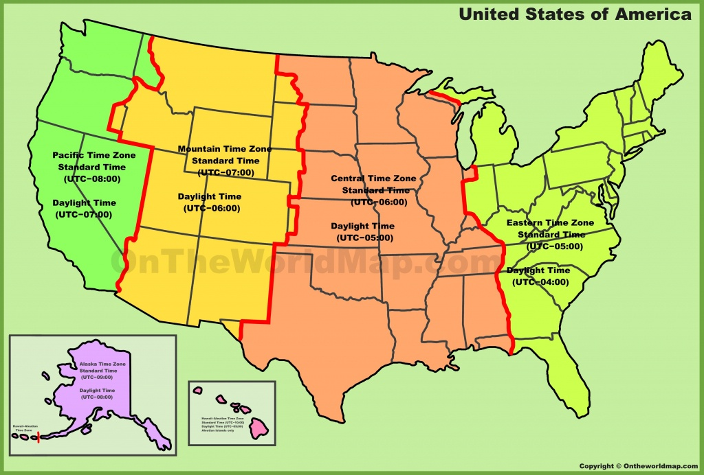 Usa Time Zone Map - Us Timezone Map Printable