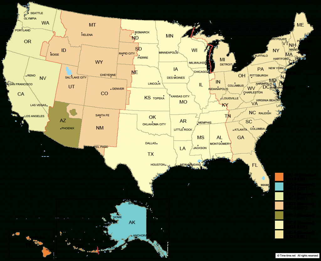 Usa Time Zone Map - With States - With Cities - With Clock - With - Printable Us Map With Time Zones And Area Codes