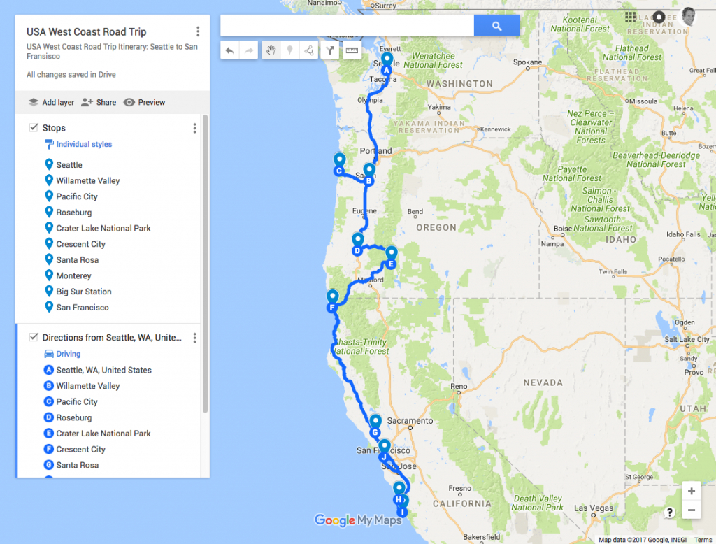 Usa West Coast Road Trip Itinerary: Seattle To San Francisco   Just - Seattle To California Road Trip Map