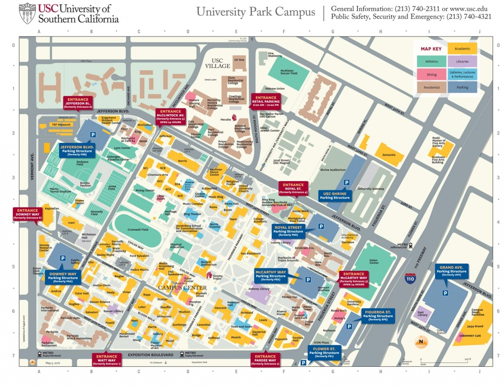 Usc University Park Campus Parking Structures, Entrances Get New - University Of Southern California Map