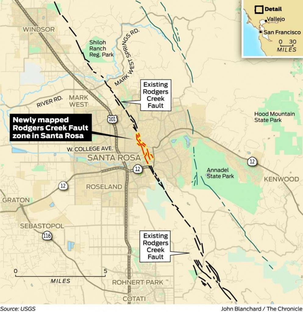 Usgs Finds Long-Obscured Earthquake Fault In Downtown Santa Rosa - Graton California Map